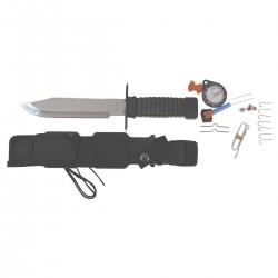 Nôž na prežitie čierny s doplnkami