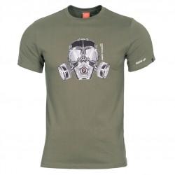 Pánske tričko PENTAGON® Gas mask - olivovo zelené