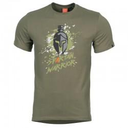 Pentagon SPARTAN WARRIOR tričko s potlačou - OLIVA